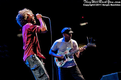 Rage Against The Machine performing live at L.A. Rising in  Los Angeles, Calif. on Saturday night,  July 30th, 2011. (Photo by Sergio Bastidas/sini69photo.com, ©2011)