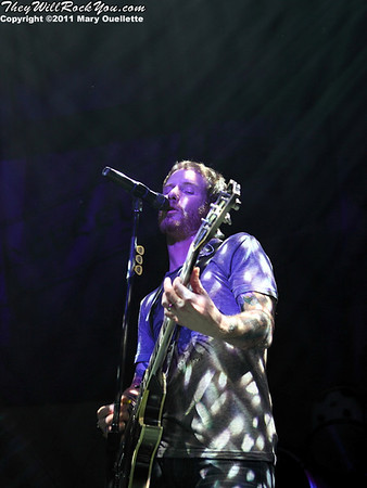 "Corey Taylor of Stone Sour performs in support of ""Audio Secrecy"" on January 22, 2011 at the Tsongas Center in Lowell, Massachusetts"