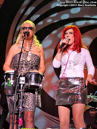 Cindy Wilson & Kate Pierson of The B-52s perform on June 9, 2011 at the Bank of America Pavilion in Boston, Massachusetts