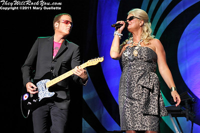 Keith Strickland & Cindy Wilson of The B-52s perform on June 9, 2011 at the Bank of America Pavilion in Boston, Massachusetts