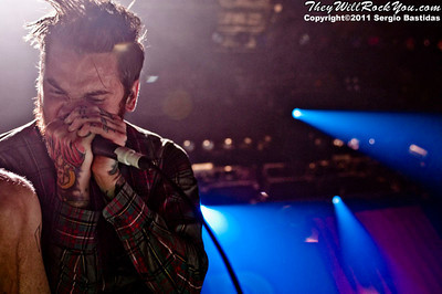 The Devil Wears Prada performing live on the stage of the Nokia Club on Sunday night, November 11th, 2011 in Los Angeles, Calif. (Photo by Sergio Bastidas/sini69photo.com, ©2011)