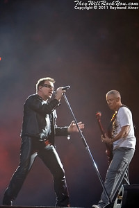U2 perform live at Anaheim Stadium in Anaheim, California on June 18th, 2011