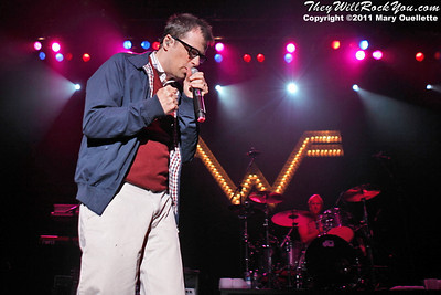 """Rivers Cuomo of Weezer performs on May 19, 2011  in support of """"Hurley"""" at the Bank of America Pavilion in Boston, Massachusetts"""