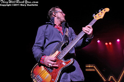 """Scott G. Shriner of Weezer performs on May 19, 2011  in support of """"Hurley"""" at the Bank of America Pavilion in Boston, Massachusetts"""