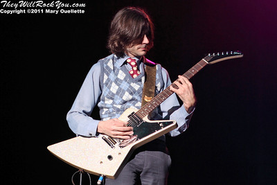 """Brian Bell of Weezer performs on May 19, 2011  in support of """"Hurley"""" at the Bank of America Pavilion in Boston, Massachusetts"""