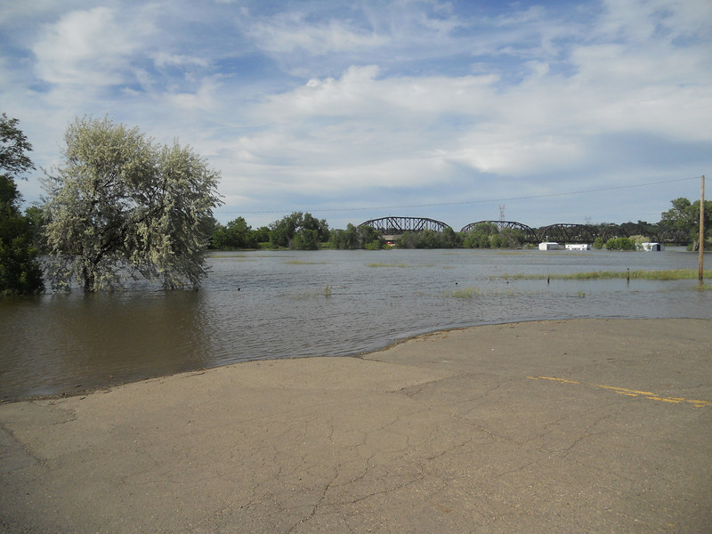 More Missouri River out of its banks. Pierre, SD. Day 6.