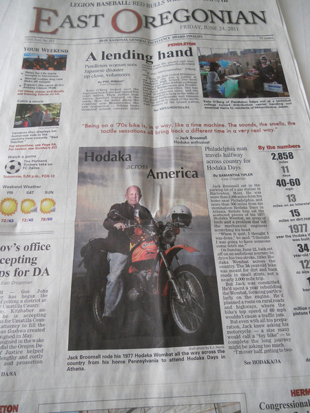Coverage of my ride in the East Oregonian regional newspaper of Friday, June 24, 2011.