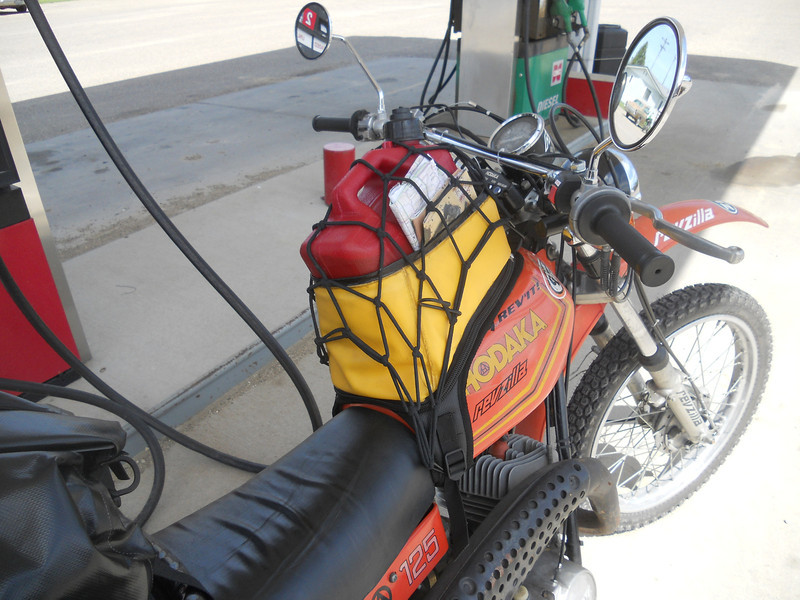 So now I'm carrying a gallon gas can (full, of course) in my tank bag
