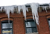Icicles on the Washington Street Mills Building