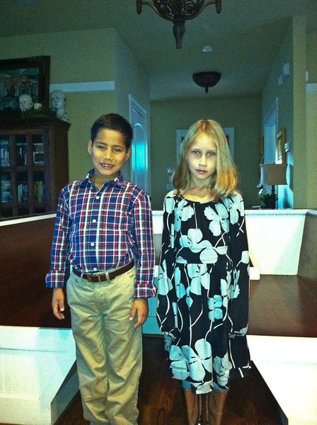 Stella and Parker all dressed up for their school photos. Daphne took the photo with her iPhone.