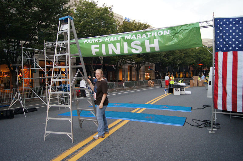 Finish line scaffolding complete. Parks Half Marathon 2011 - Photo by Kenna Libes
