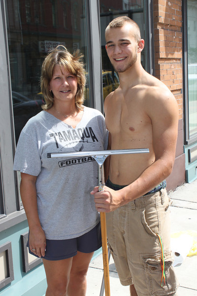 Cleaning Windows with Mom, New Business at old Morgan Store, Tamaqua (8-24-2011)