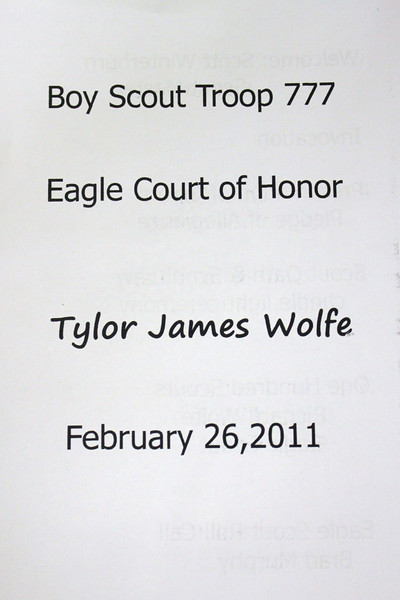 Tamaqua Boy Scouts Eagle Court of Honor for Tyler Wolfe, St John UCC, Tamaqua (2-26-2011)