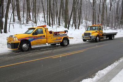 Vehicle Slides into Snow Ditch, SR-54, Hometown (1-18-2011)