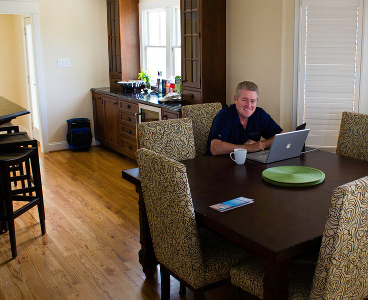Brian has a cup of Peets and gets a little work done at the shore house.