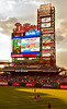 Spectacular new digital scoreboard looms over the hapless Astros as they warmup to face Cliff Lee.