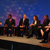 Moderator Shannon Ogden (First Coast News), Jacksonville mayoral candidates Alvin Brown (Dem.), Mike Hogan (Rep.), Steve Irvine (Independent), Warren Lee (Dem.), Audrey Moran (Rep.) and Rick Mullaney (Rep.)