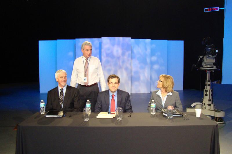 WJCT President & CEO Michael Boylan (standing), with panelists John Burr (Jacksonville Business Journal), Matt Galnor (Florida Times-Union/Jacksonville.com) and Roxy Tyler (WOKV AM/FM)