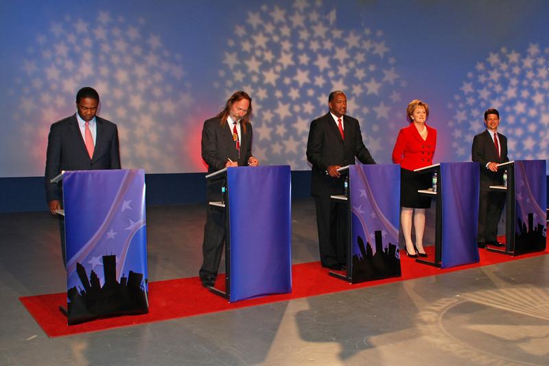 Jacksonville mayoral candidates Alvin Brown (Dem.), Steve Irvine (Independent), Warren Lee (Dem.), Audrey Moran (Rep.) and Rick Mullaney (Rep.)