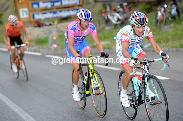 Jose Rujano has attacked with Michele Scarponi - Igor Anton is about to join them...
