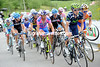 The start of the Zoncolan sees David Arroyo at the head of the peloton - Arroyo almost won the 2010 Giro but has not been seen at all this year...