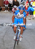 Pozzovivo attacks on the final climb above Lecco, Nibali having been caught before the bottom...
