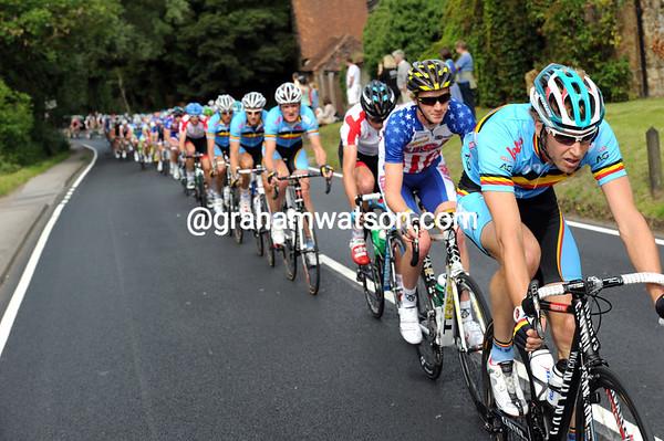 Jurgen Van de Walle is chasing now, all the way up the highway towards London...