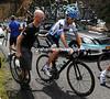 Vande Velde's slower to get away - he's bruised and a bit dazed...