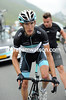 Andy Schleck has to make a very quick wheel-change on the Tourmalet...