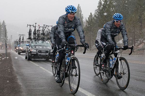 Dave Zabriskie and a few other members of the Garmin team chose to get a few miles in after the stage was cancelled. The road conditions proved the cancellation decision to be the correct one.