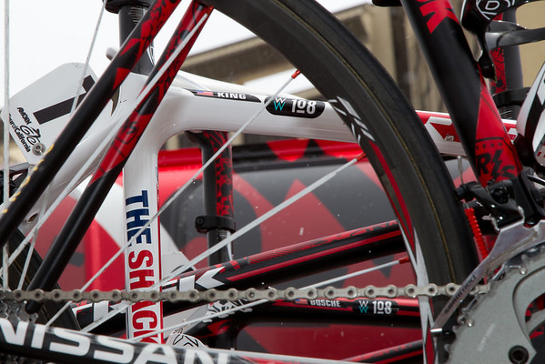 The Team RadioShack bicycles also were bearing the Wouter Weylandt tribute stickers.