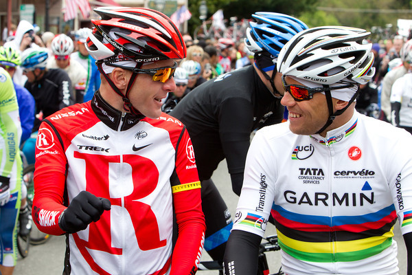 Levi and Thor chat before the start of the shortened stage 2. Iffy weather scrapped the climb of Donnor pass.