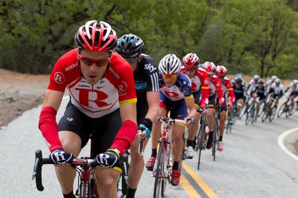 Irizar is now the RadioShack man on point as the peloton starts the Mt. Hamilton climb.