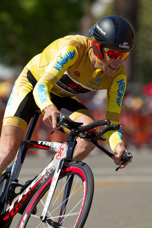 Not known for his time trialing, Chris Horner was able to manage his losses and retain the lead in the GC... he finished only 51 seconds off the winning time for sixth.