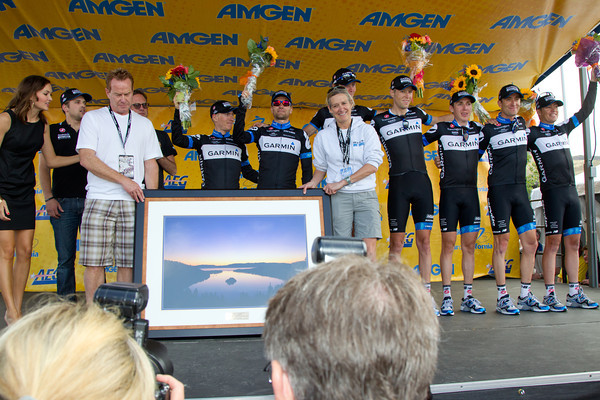Garmin win the team competition and receive a photo of un-raced past Emerald Bay of Lake Tahoe.