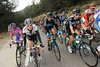 Craig Lewis is near the front of the peloton on a small climb, as is Sky's Morris Possoni...