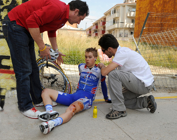 Frederic Robert has crashed out of the race with some nasty leg injuries...