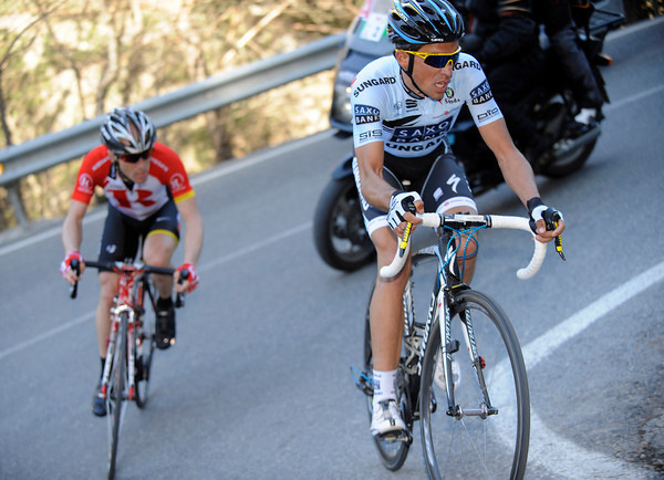 Contador and Leipheimer have moved away from the rest, but Contador is about to move away by himself...