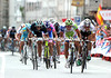 Peter Sagan fights it out with Degenkolb and Bennati in the slightly uphill sprint...