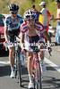 Daniel Moreno has caught Sorensen with five-kilometres to go...
