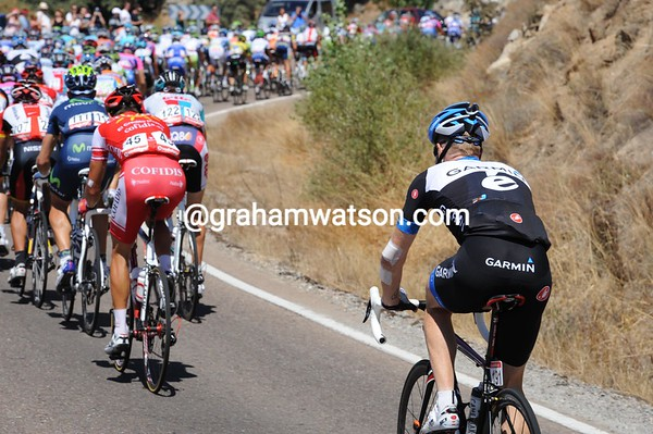 Tyler Farrar's injuries mean he cannot keep in touch for long - he'll abandon before te main climbs of the day...