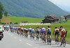 After ten minutes of calm, war breaks out again as the race re-starts - the peloton is in three pieces...