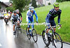 Four men are away in an escape as the rain pours down - unusually, Movistar's sprinter - Francisco Ventoso - is leading this escape.!