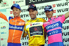 Levi Leipheimer enjoys his glory on the podium, with Damiano Cunego and Steven Kruijswijk - what an exciting end to an exciting race!