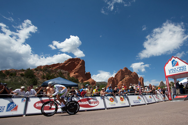 The first rider is off under amazing skies with a picturesque backdrop for the first USA Pro Cycling Challenge from Garden of the Gods national park.