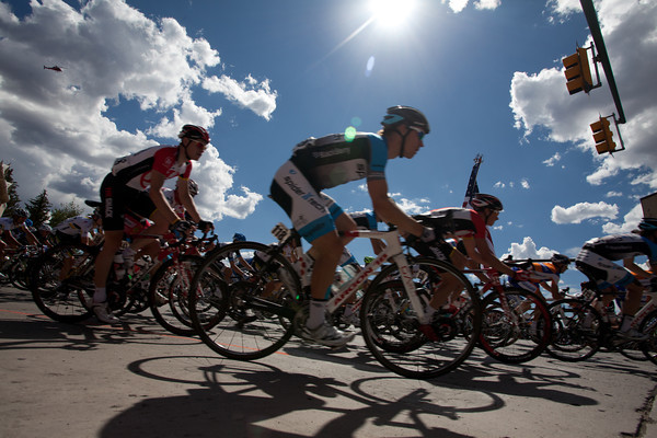 The riders pass through Gunnison, they'll be back tomorrow to start stage 2.