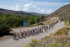 An escape is finally away, the peloton eases up as they ride along the Gunnison river.