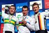 Cavendish, Goss, and Greipel celebate on the podium...