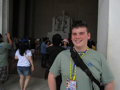 Tyler Orlando, our Youth Leadership Council representative, at the Lincoln Memorial.