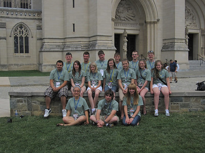 In front of the National Cathedral.